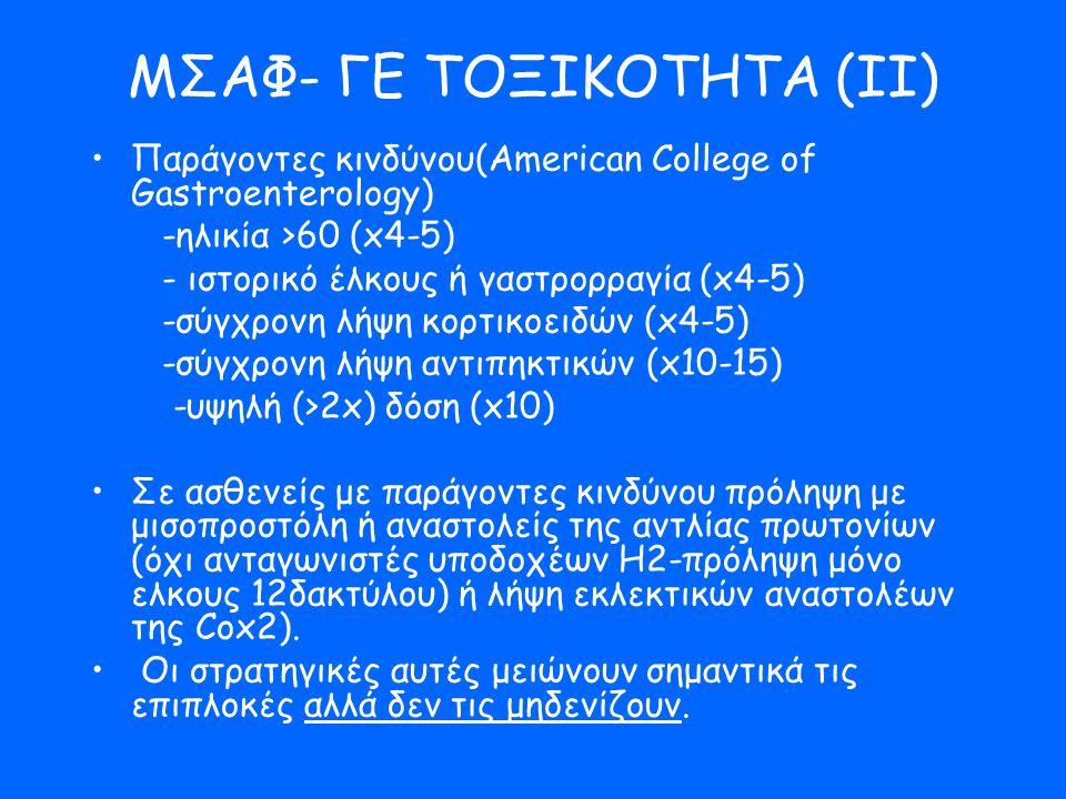 ΜΣΑΦ- ΓΕ ΤΟΞΙΚΟΤΗΤΑ (ΙΙ) •Παράγοντες κινδύνου(American College of Gastroenterology) -ηλικία >60 (x4-5) - ιστορικό έλκους ή γαστρορραγία (x4-5) -σύγχρο