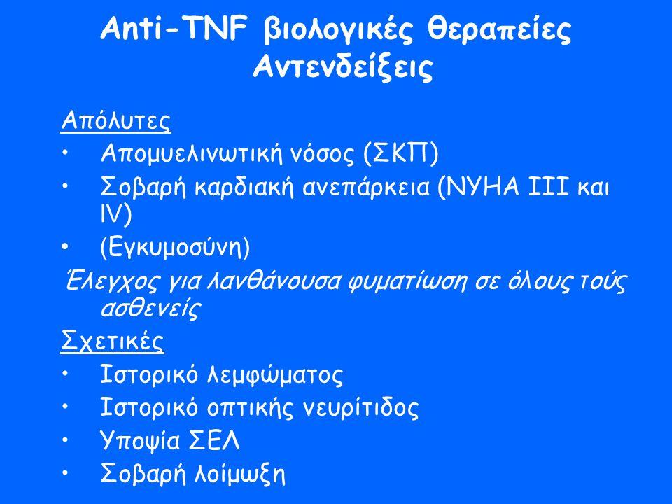 Anti-TNF β ιολογικές θεραπείες Αντενδείξεις Απόλυτες •Απομυελινωτική νόσος (ΣΚΠ) •Σοβαρή καρδιακή ανεπάρκεια (ΝΥΗΑ ΙΙΙ και ΙV ) •( Εγκυμοσύνη ) Έλεγχο