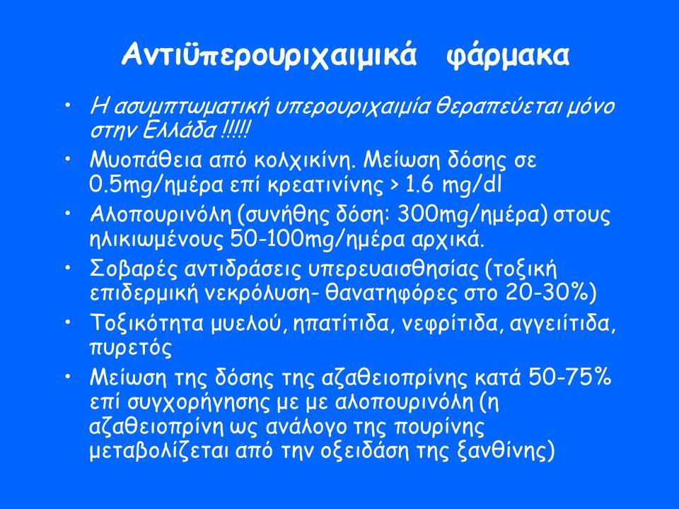 Αντιϋπερουριχαιμικά φάρμακα •Η ασυμπτωματική υπερουριχαιμία θεραπεύεται μόνο στην Ελλάδα !!!!! •Μυοπάθεια από κολχικίνη. Μείωση δόσης σε 0.5mg/ημέρα ε