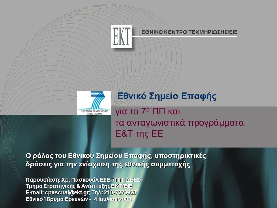 για τo 7 ο ΠΠ και τα ανταγωνιστικά προγράμματα Ε&Τ της ΕΕ Ο ρόλος του Εθνικού Σημείου Επαφής, υποστηρικτικές δράσεις για την ενίσχυση της εθνικής συμμετοχής Παρουσίαση: Χρ.