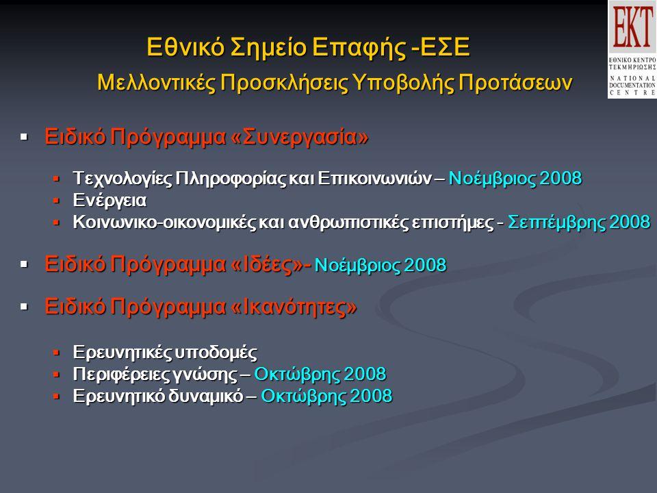 Εθνικό Σημείο Επαφής -ΕΣΕ Μελλοντικές Προσκλήσεις Υποβολής Προτάσεων  Ειδικό Πρόγραμμα «Συνεργασία»  Τεχνολογίες Πληροφορίας και Επικοινωνιών – Νοέμβριος 2008  Ενέργεια  Κοινωνικο-οικονομικές και ανθρωπιστικές επιστήμες - Σεπτέμβρης 2008  Ειδικό Πρόγραμμα «Ιδέες»- Νοέμβριος 2008  Ειδικό Πρόγραμμα «Ικανότητες»  Ερευνητικές υποδομές  Περιφέρειες γνώσης – Οκτώβρης 2008  Ερευνητικό δυναμικό – Οκτώβρης 2008