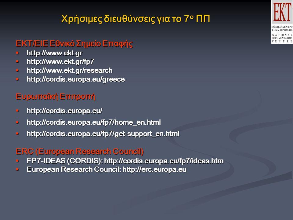 Χρήσιμες διευθύνσεις για το 7 ο ΠΠ ΕΚΤ/ΕΙΕ Εθνικό Σημείο Επαφής  http://www.ekt.gr  http://www.ekt.gr/fp7  http://www.ekt.gr/research  http://cordis.europa.eu/greece Ευρωπαϊκή Επιτροπή  http://cordis.europa.eu/  http://cordis.europa.eu/fp7/home_en.html  http://cordis.europa.eu/fp7/get-support_en.html ERC (Εuropean Research Council)  FP7-IDEAS (CORDIS): http://cordis.europa.eu/fp7/ideas.htm  European Research Council: http://erc.europa.eu