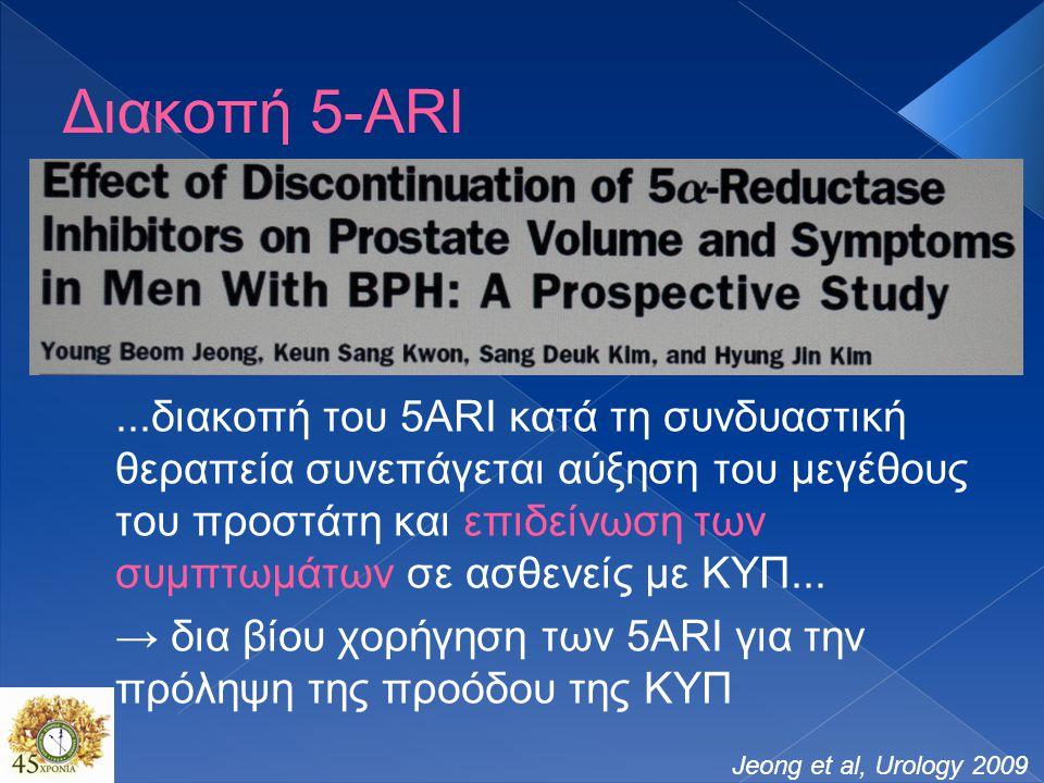 Διακοπή 5-ARI Jeong et al, Urology 2009...διακοπή του 5ARI κατά τη συνδυαστική θεραπεία συνεπάγεται αύξηση του μεγέθους του προστάτη και επιδείνωση των συμπτωμάτων σε ασθενείς με ΚΥΠ...