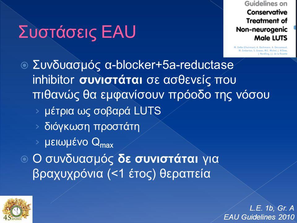 Συστάσεις EAU  Συνδυασμός α-blocker+5a-reductase inhibitor συνιστάται σε ασθενείς που πιθανώς θα εμφανίσουν πρόοδο της νόσου › μέτρια ως σοβαρά LUTS › διόγκωση προστάτη › μειωμένο Q max  Ο συνδυασμός δε συνιστάται για βραχυχρόνια (<1 έτος) θεραπεία L.E.