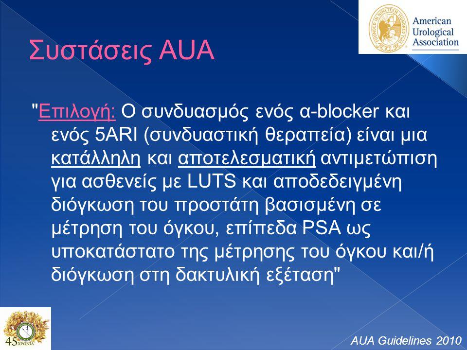 Συστάσεις AUA Επιλογή: Ο συνδυασμός ενός α-blocker και ενός 5ARI (συνδυαστική θεραπεία) είναι μια κατάλληλη και αποτελεσματική αντιμετώπιση για ασθενείς με LUTS και αποδεδειγμένη διόγκωση του προστάτη βασισμένη σε μέτρηση του όγκου, επίπεδα PSA ως υποκατάστατο της μέτρησης του όγκου και/ή διόγκωση στη δακτυλική εξέταση AUA Guidelines 2010