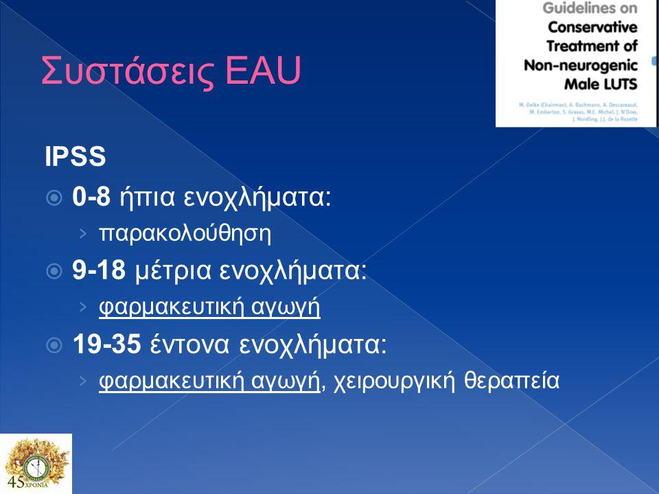 Συστάσεις EAU IPSS  0-8 ήπια ενοχλήματα: › παρακολούθηση  9-18 μέτρια ενοχλήματα: › φαρμακευτική αγωγή  19-35 έντονα ενοχλήματα: › φαρμακευτική αγωγή, χειρουργική θεραπεία