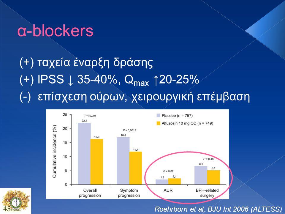 α-blockers (+) ταχεία έναρξη δράσης (+) IPSS ↓ 35-40%, Q max ↑20-25% (-) επίσχεση ούρων, χειρουργική επέμβαση Roehrborn et al, BJU Int 2006 (ALTESS)