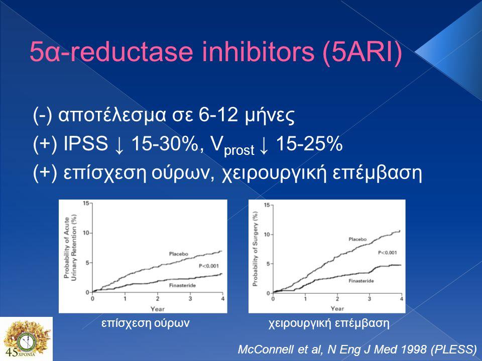 5α-reductase inhibitors (5ARI) (-) αποτέλεσμα σε 6-12 μήνες (+) IPSS ↓ 15-30%, V prost ↓ 15-25% (+) επίσχεση ούρων, χειρουργική επέμβαση McConnell et