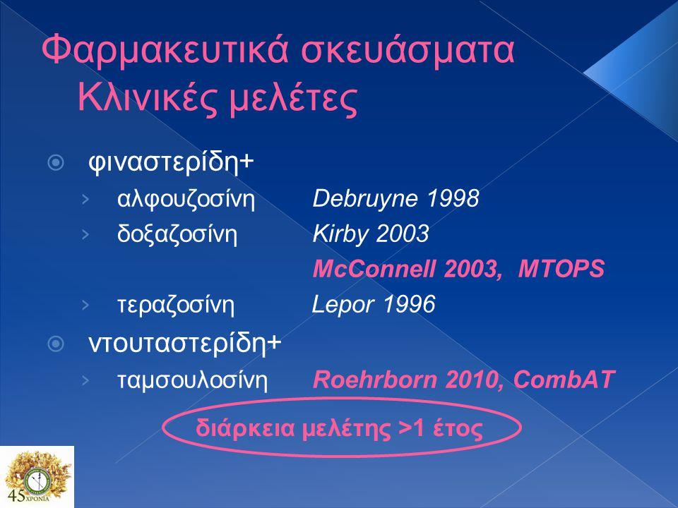Φαρμακευτικά σκευάσματα Κλινικές μελέτες  φιναστερίδη+ › αλφουζοσίνη Debruyne 1998 › δοξαζοσίνηKirby 2003 McConnell 2003, MTOPS › τεραζοσίνη Lepor 1996  ντουταστερίδη+ › ταμσουλοσίνηRoehrborn 2010, CombΑΤ διάρκεια μελέτης >1 έτος