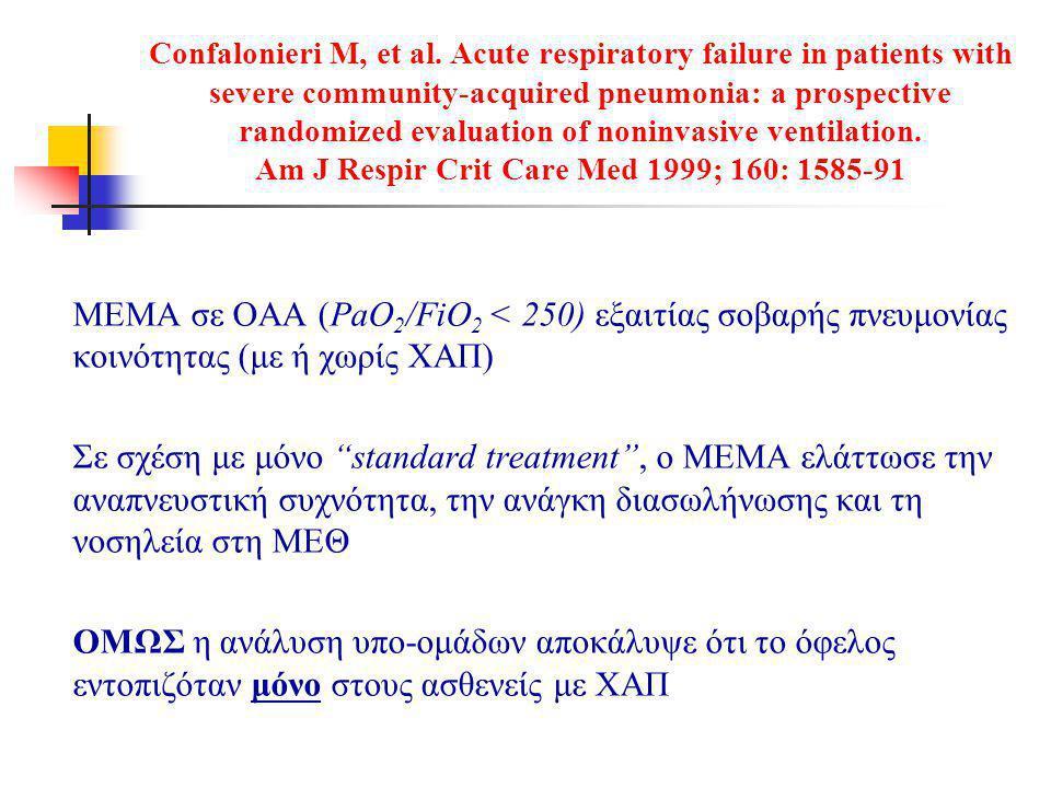Confalonieri M, et al. Acute respiratory failure in patients with severe community-acquired pneumonia: a prospective randomized evaluation of noninvas