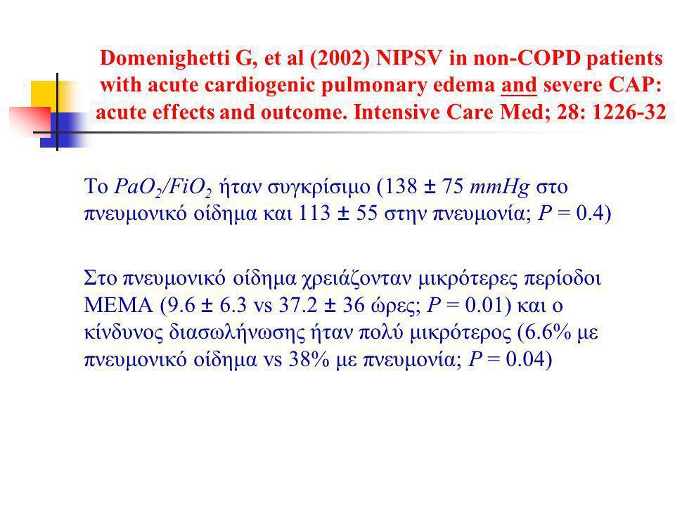 Domenighetti G, et al (2002) NIPSV in non-COPD patients with acute cardiogenic pulmonary edema and severe CAP: acute effects and outcome. Intensive Ca