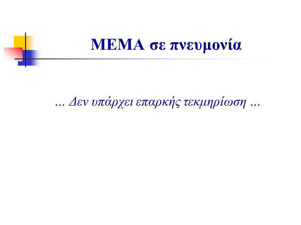 … Δεν υπάρχει επαρκής τεκμηρίωση … ΜΕΜΑ σε πνευμονία