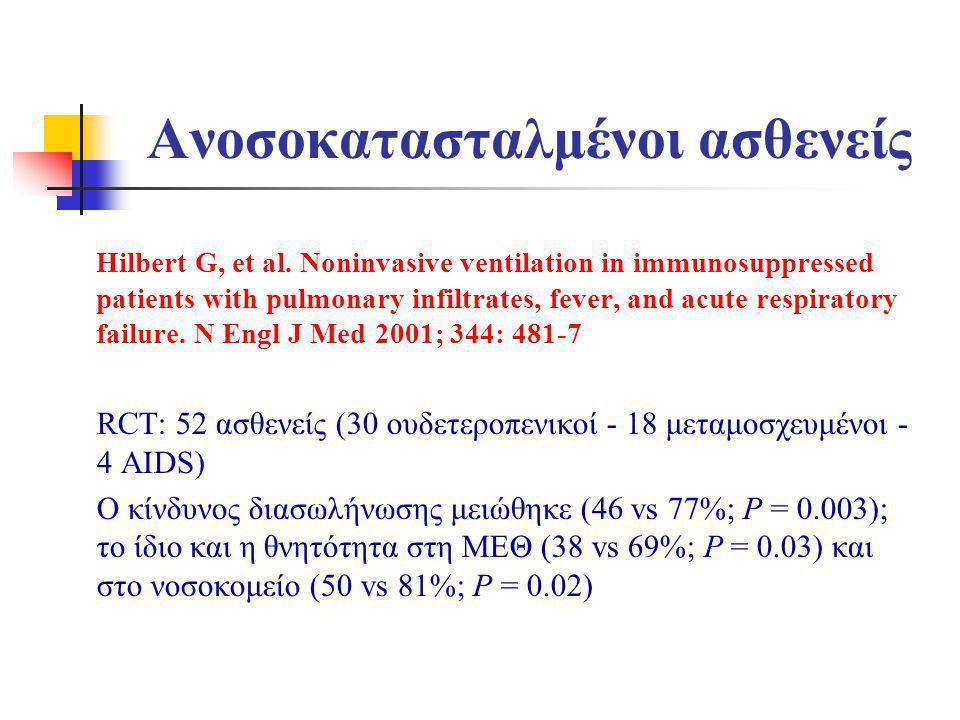Ανοσοκατασταλμένοι ασθενείς Hilbert G, et al. Noninvasive ventilation in immunosuppressed patients with pulmonary infiltrates, fever, and acute respir