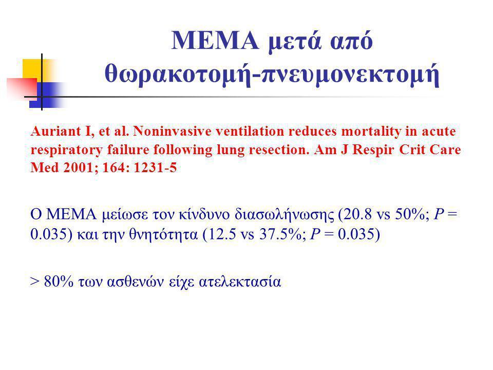MEMA μετά από θωρακοτομή-πνευμονεκτομή Auriant I, et al. Noninvasive ventilation reduces mortality in acute respiratory failure following lung resecti
