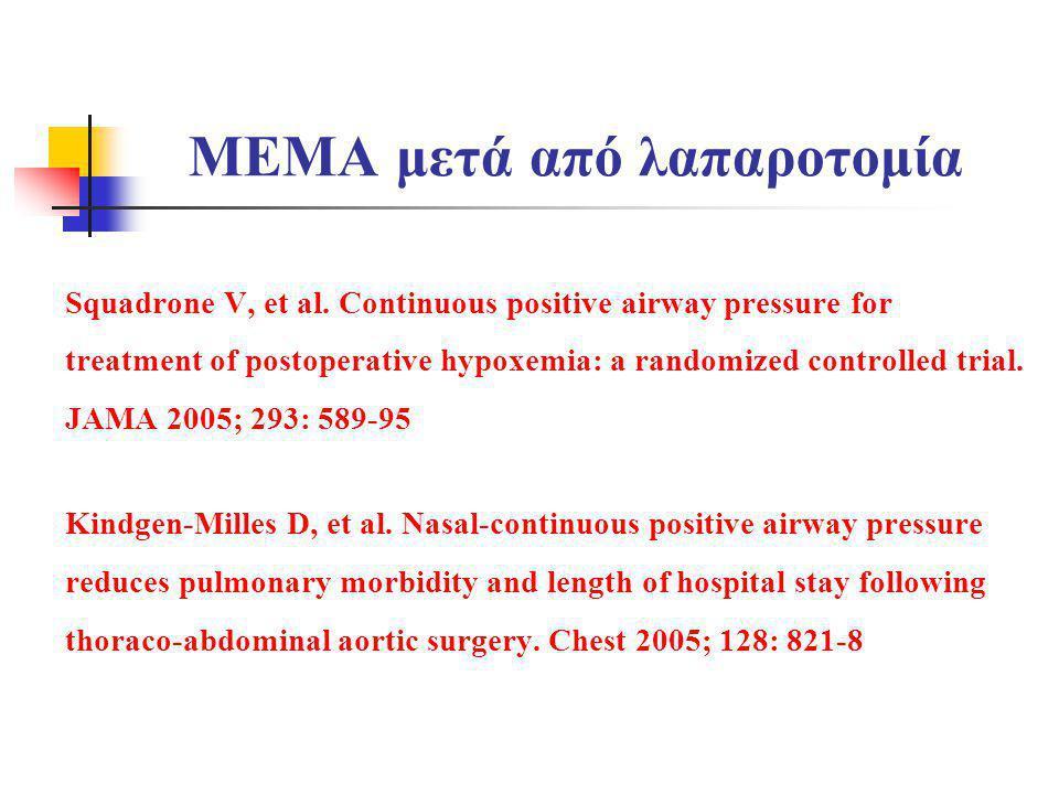 MEMA μετά από λαπαροτομία Squadrone V, et al. Continuous positive airway pressure for treatment of postoperative hypoxemia: a randomized controlled tr