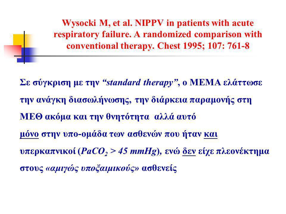 Wysocki M, et al.NIPPV in patients with acute respiratory failure.