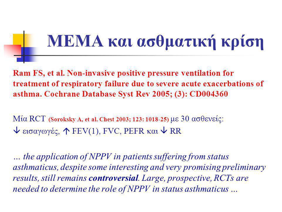 ΜΕΜΑ και ασθματική κρίση Ram FS, et al. Non-invasive positive pressure ventilation for treatment of respiratory failure due to severe acute exacerbati