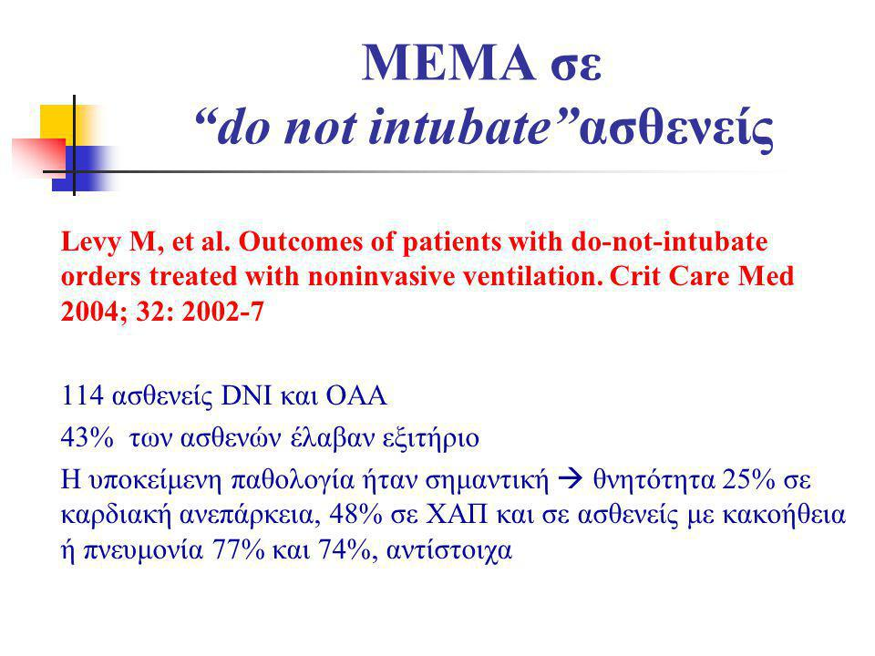 """MEMA σε """"do not intubate""""ασθενείς Levy M, et al. Outcomes of patients with do-not-intubate orders treated with noninvasive ventilation. Crit Care Med"""