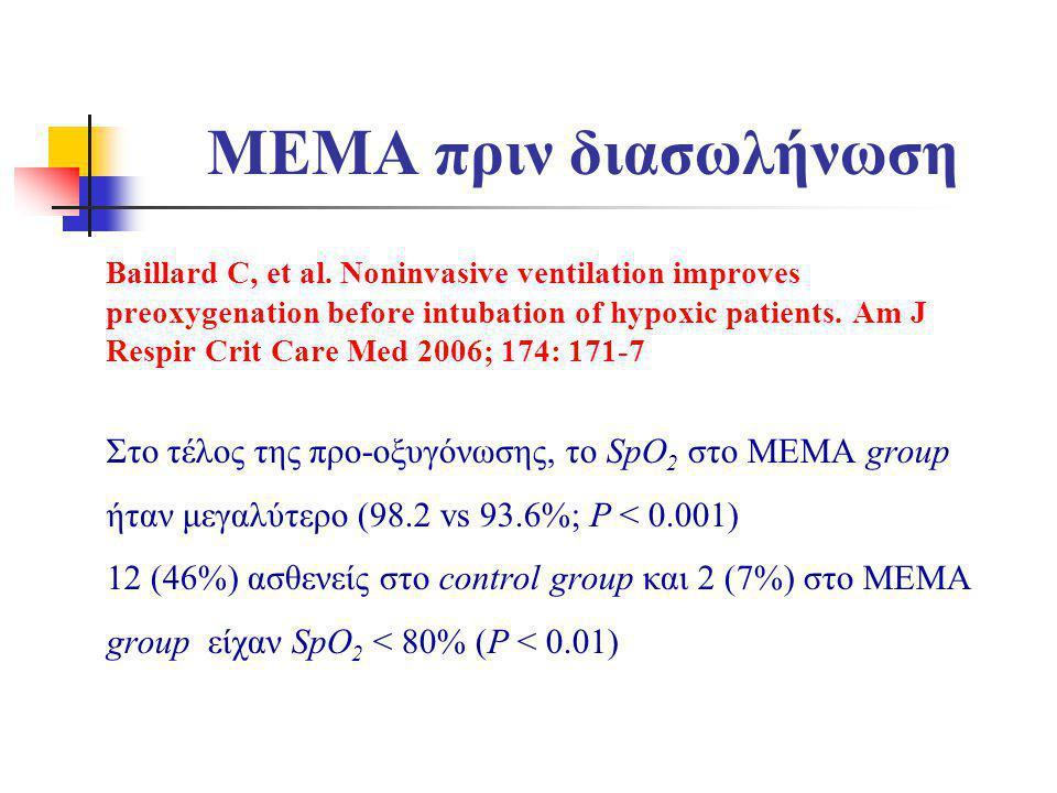 MEMA πριν διασωλήνωση Baillard C, et al. Noninvasive ventilation improves preoxygenation before intubation of hypoxic patients. Am J Respir Crit Care