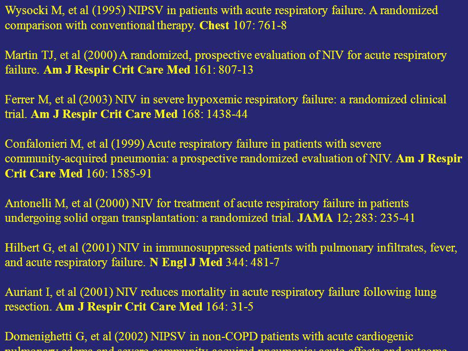 Wysocki M, et al (1995) NIPSV in patients with acute respiratory failure.