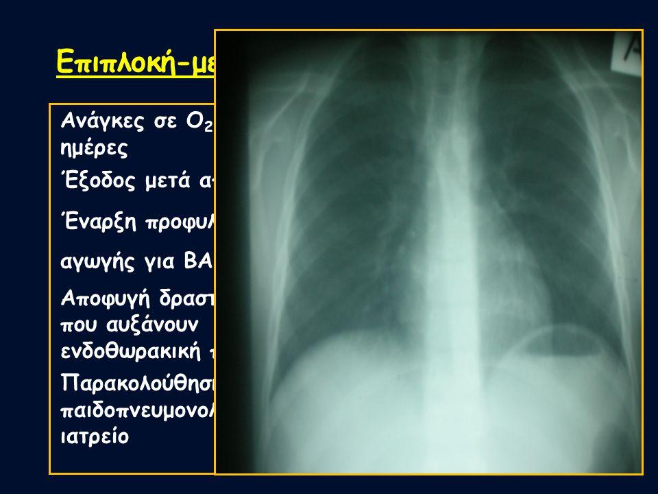 Επιπλοκή-μεσοπνευμοθωράκιο Ανάγκες σε Ο 2 για 4 ημέρες Έξοδος μετά από 7 ημέρες Έναρξη προφυλαχτικής αγωγής για ΒΑ Αποφυγή δραστηριοτήτων που αυξάνουν