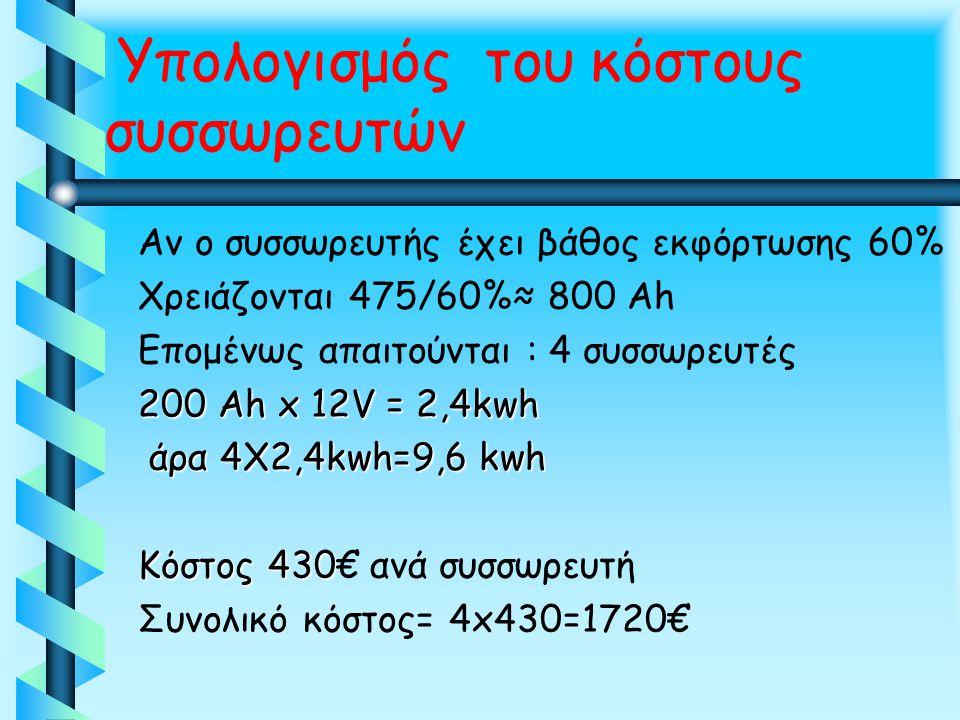 Αν ο συσσωρευτής έχει βάθος εκφόρτωσης 60% Χρειάζονται 475/60%≈ 800 Ah Επομένως απαιτούνται : 4 συσσωρευτές 200 Αh x 12V = 2,4kwh άρα 4Χ2,4kwh=9,6 kwh