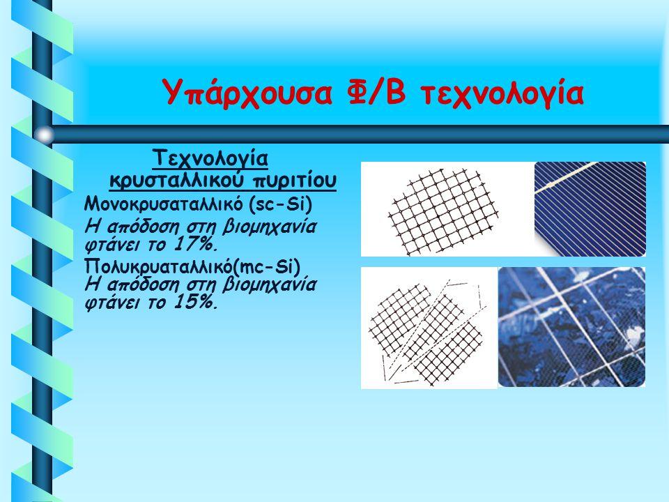Υπάρχουσα Φ/Β τεχνολογία Τεχνολογία κρυσταλλικού πυριτίου Μονοκρυσαταλλικό (sc-Si) Η απόδοση στη βιομηχανία φτάνει το 17%. Πολυκρυαταλλικό(mc-Si) Η απ