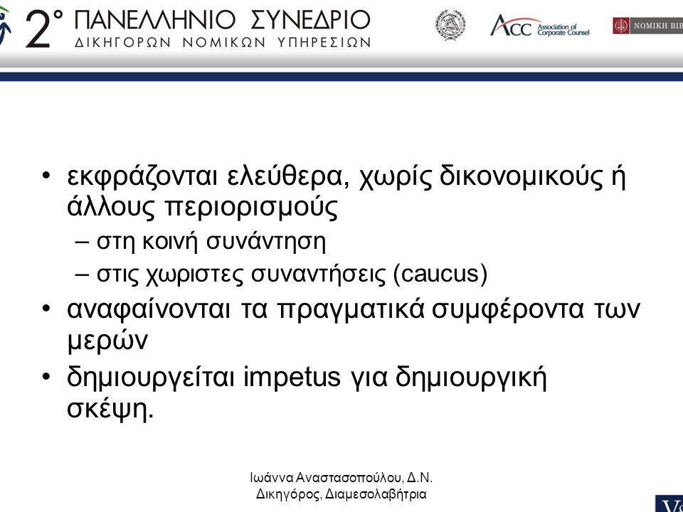 Ιωάννα Αναστασοπούλου, Δ.Ν. Δικηγόρος, Διαμεσολαβήτρια •εκφράζονται ελεύθερα, χωρίς δικονομικούς ή άλλους περιορισμούς –στη κοινή συνάντηση –στις χωρι