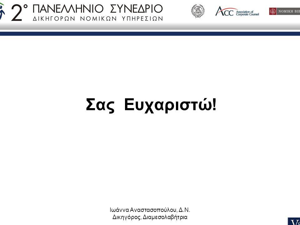 Σας Ευχαριστώ! Ιωάννα Αναστασοπούλου, Δ.Ν. Δικηγόρος, Διαμεσολαβήτρια