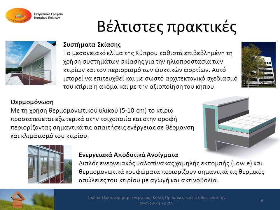 Βέλτιστες πρακτικές Τρόποι Εξοικονόμησης Ενέργειας: Καλές Πρακτικές και διέξοδος από την οικονομική κρίση 19 Σε 10 από τις 25 κατοικίες έχουν επίσης εγκατασταθεί ΦΒ συστήματα δυναμικότητας μέχρι 3 kW.