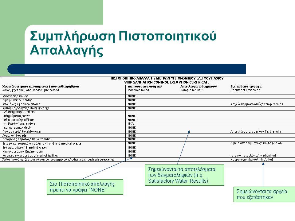 Συμπλήρωση Πιστοποιητικού Απαλλαγής Στο Πιστοποιητικό απαλλαγής πρέπει να γράφει ΝΟΝΕ Σημειώνονται τα αρχεία που εξετάστηκαν Σημειώνονται τα αποτελέσματα των δειγματοληψιών (π.χ.
