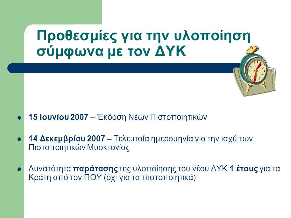 Προθεσμίες για την υλοποίηση σύμφωνα με τον ΔΥΚ  15 Ιουνίου 2007 – Έκδοση Νέων Πιστοποιητικών  14 Δεκεμβρίου 2007 – Τελευταία ημερομηνία για την ισχύ των Πιστοποιητικών Μυοκτονίας  Δυνατότητα παράτασης της υλοποίησης του νέου ΔΥΚ 1 έτους για τα Κράτη από τον ΠΟΥ (όχι για τα πιστοποιητικά)