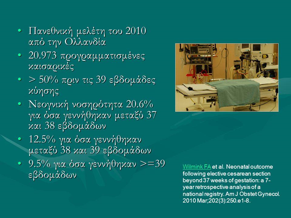 •Πανεθνική μελέτη του 2010 από την Ολλανδία •20.973 προγραμματισμένες καισαρικές •> 50% πριν τις 39 εβδομάδες κύησης •Νεογνική νοσηρότητα 20.6% για όσ