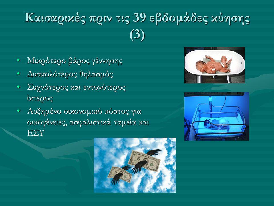 Καισαρικές πριν τις 39 εβδομάδες κύησης (3) •Μικρότερο βάρος γέννησης •Δυσκολότερος θηλασμός •Συχνότερος και εντονότερος ίκτερος •Αυξημένο οικονομικό