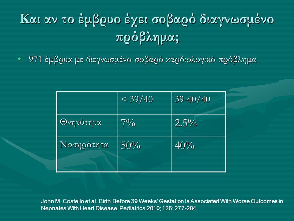 Και αν το έμβρυο έχει σοβαρό διαγνωσμένο πρόβλημα; •971 έμβρυα με διεγνωσμένο σοβαρό καρδιολογικό πρόβλημα < 39/40 39-40/40 Θνητότητα7%2.5% Νοσηρότητα