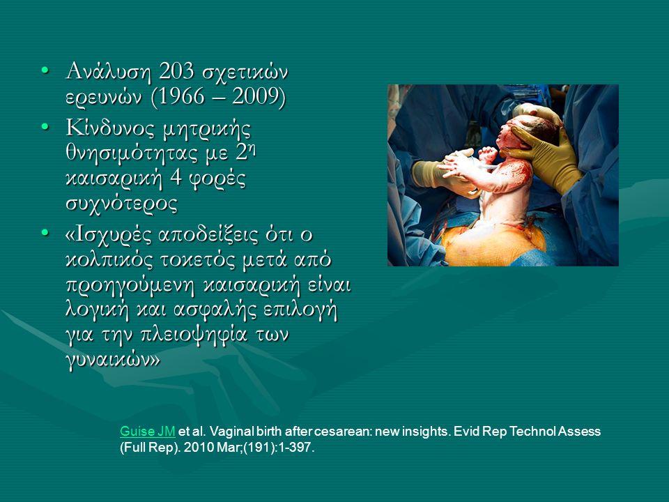 •Ανάλυση 203 σχετικών ερευνών (1966 – 2009) •Κίνδυνος μητρικής θνησιμότητας με 2 η καισαρική 4 φορές συχνότερος •«Ισχυρές αποδείξεις ότι ο κολπικός το