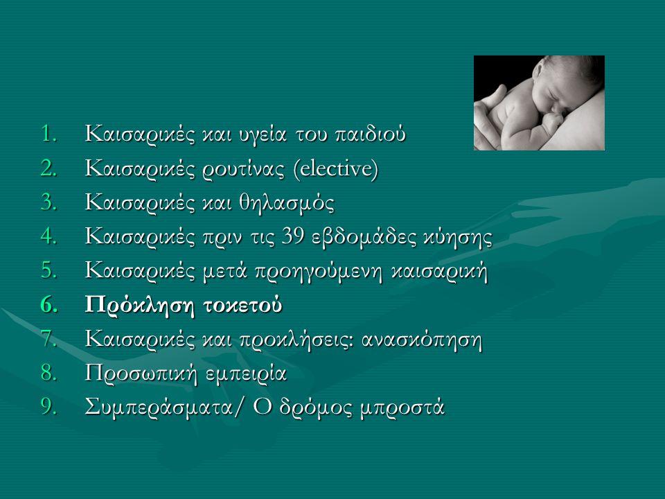 1.Καισαρικές και υγεία του παιδιού 2.Καισαρικές ρουτίνας (elective) 3.Καισαρικές και θηλασμός 4.Καισαρικές πριν τις 39 εβδομάδες κύησης 5.Καισαρικές μ