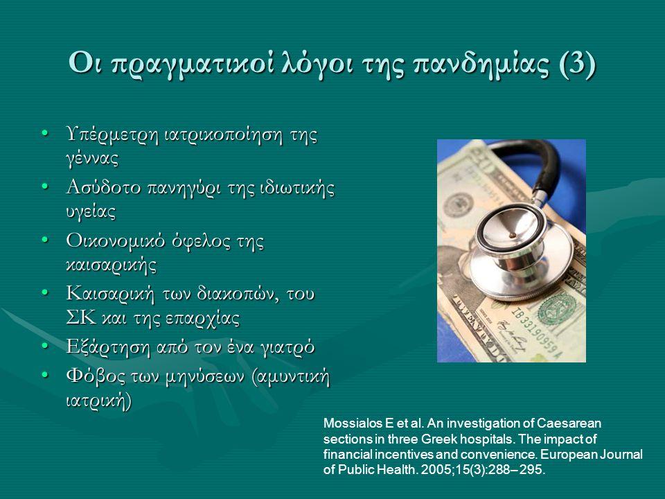 Οι πραγματικοί λόγοι της πανδημίας (3) •Υπέρμετρη ιατρικοποίηση της γέννας •Ασύδοτο πανηγύρι της ιδιωτικής υγείας •Οικονομικό όφελος της καισαρικής •Κ