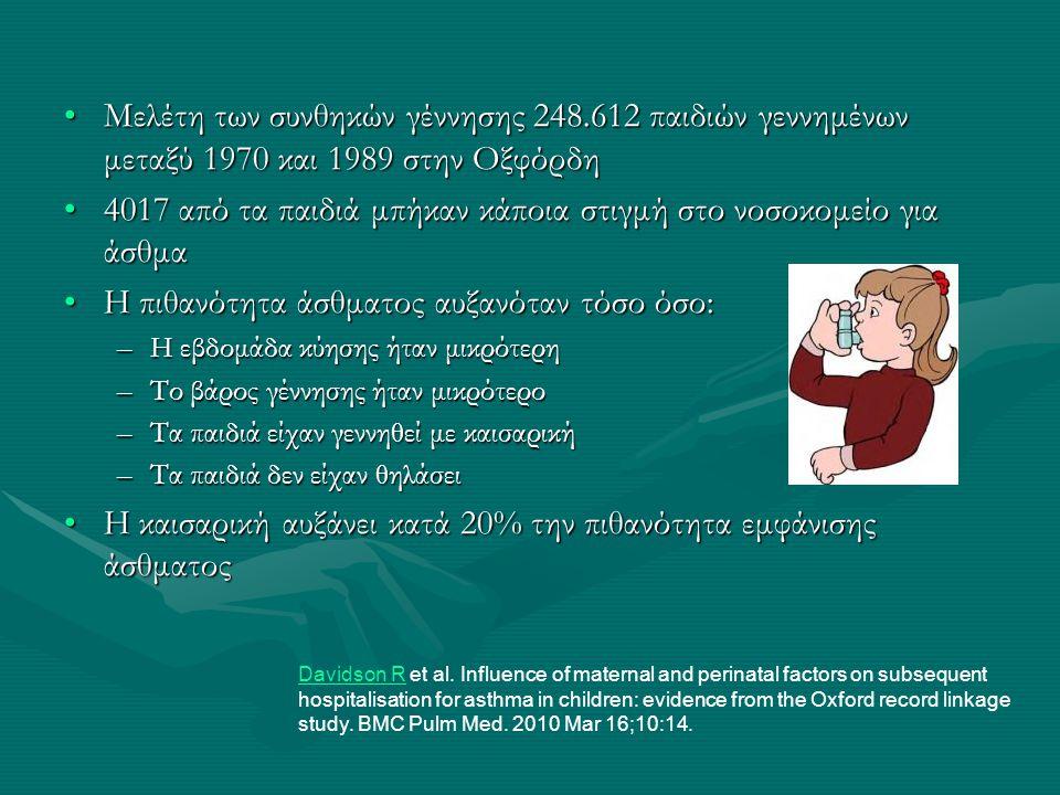 Καισαρική και γυναίκα •3.5 φορές υψηλότερος κίνδυνος θανάτου •Περισσότερος χρόνιος πόνος •Ανωμαλίες προσκόλλησης πλακούντα στη μήτρα σε επόμενες κυήσεις •Προεκλαμψία σε επόμενες εγκυμοσύνες •Αυξημένος κίνδυνος για ρήξη μήτρας σε επόμενη κύηση •Πιθανότητα για μειωμένη γονιμότητα