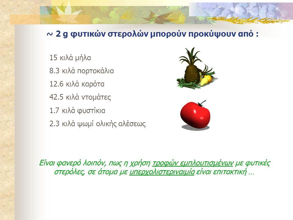 ~ 2 g φυτικών στερολών μπορούν προκύψουν από : 15 κιλά μήλα 8.3 κιλά πορτοκάλια 12.6 κιλά καρότα 42.5 κιλά ντομάτες 1.7 κιλά φυστίκια 2.3 κιλά ψωμί ολ