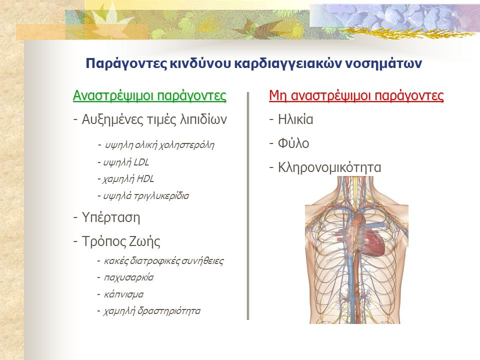 Διατροφικές παρεμβάσεις για πρόληψη των καρδιαγγειακών νοσημάτων  Μείωση σωματικού βάρους  Αύξηση φυσικής δραστηριότητας  Κατανάλωση λίπους 25-35 % της συνολικής ενέργειας SAFA < 7% τις συνολικής ενέργειας ελάχιστα Trans λιπαρά οξέα διαιτητική χοληστερόλη <200mg  Παράγοντες που οδηγούν σε μείωση των επιπέδων LDL φυτικές στερόλες/ στανόλες (2 g/ ημ) διαιτητικές ίνες (~10 g/ημ) κατανάλωση φρούτων και λαχανικών (αντιοξειδωτικά)