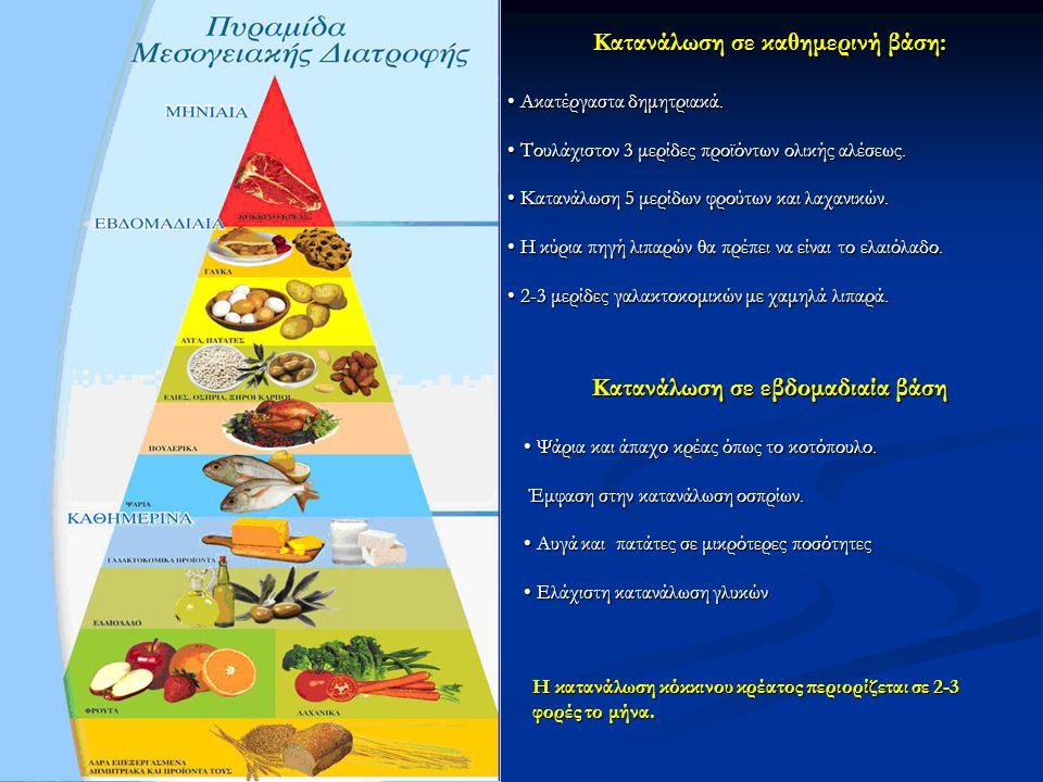 Κατανάλωση σε καθημερινή βάση: • Ακατέργαστα δημητριακά. • Τουλάχιστον 3 μερίδες προϊόντων ολικής αλέσεως. • Κατανάλωση 5 μερίδων φρούτων και λαχανικώ