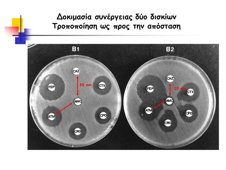Δοκιμασία συνέργειας δύο δισκίων Τροποποίηση ως προς την απόσταση 30 mm 20 mm