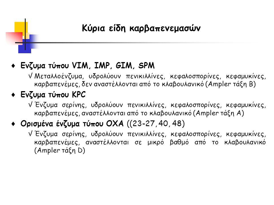 Κύρια είδη καρβαπενεμασών  Ενζυμα τύπου VIM, IMP, GIM, SPM  Μεταλλοένζυμα, υδρολύουν πενικιλλίνες, κεφαλοσπορίνες, κεφαμυκίνες, καρβαπενέμες, δεν αναστέλλονται από το κλαβουλανικό (Ampler τάξη B)  Ενζυμα τύπου KPC  Ένζυμα σερίνης, υδρολύουν πενικιλλίνες, κεφαλοσπορίνες, κεφαμυκίνες, καρβαπενέμες, αναστέλλονται από το κλαβουλανικό (Ampler τάξη Α)  Ορισμένα ένζυμα τύπου OXA ((23-27, 40, 48)  Ένζυμα σερίνης, υδρολύουν πενικιλλίνες, κεφαλοσπορίνες, κεφαμυκίνες, καρβαπενέμες, αναστέλλονται σε μικρό βαθμό από το κλαβουλανικό (Ampler τάξη D)