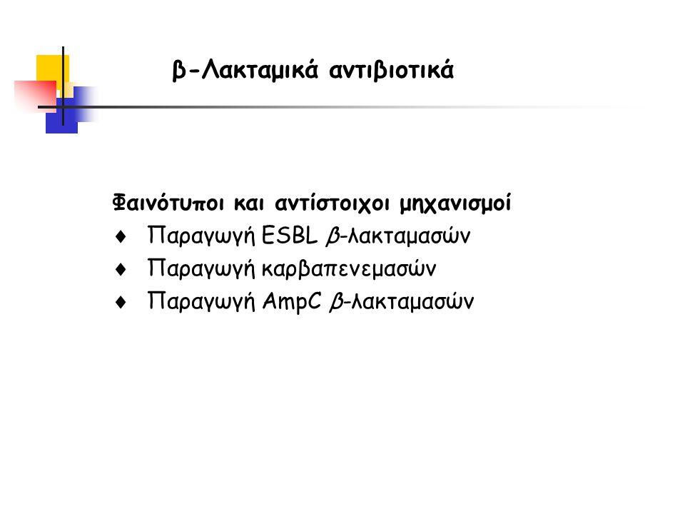 β-Λακταμικά αντιβιοτικά Φαινότυποι και αντίστοιχοι μηχανισμοί  Παραγωγή ESBL β-λακταμασών  Παραγωγή καρβαπενεμασών  Παραγωγή AmpC β-λακταμασών