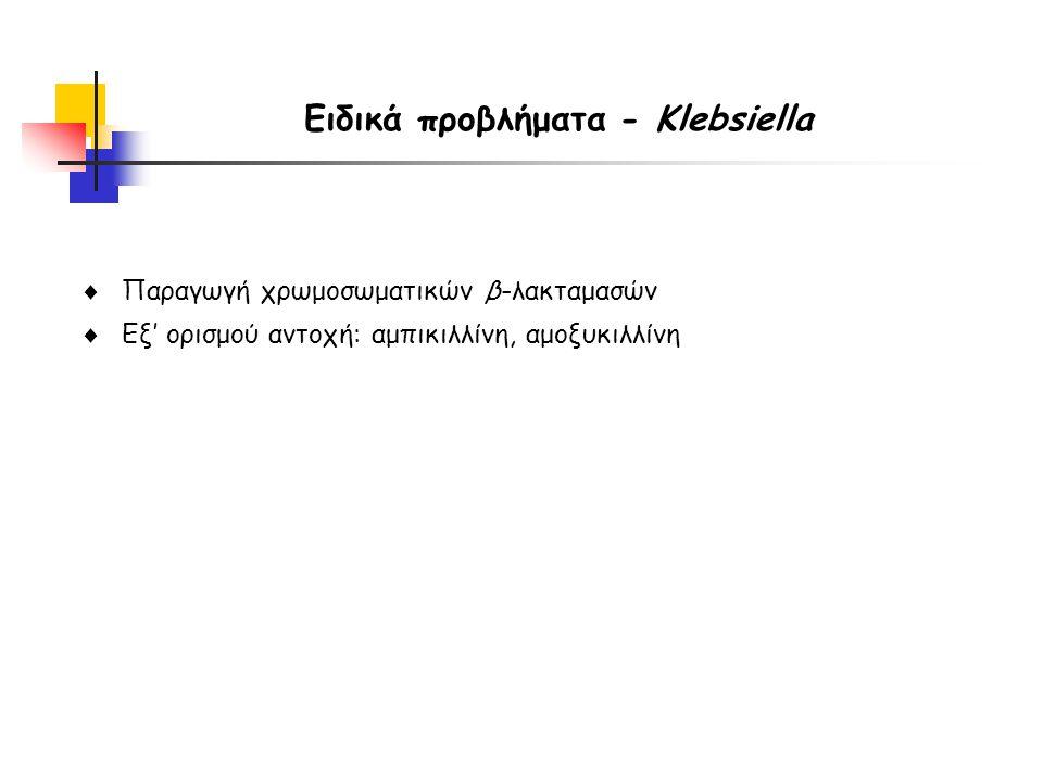  Παραγωγή χρωμοσωματικών β-λακταμασών  Εξ' ορισμού αντοχή: αμπικιλλίνη, αμοξυκιλλίνη Ειδικά προβλήματα - Klebsiella