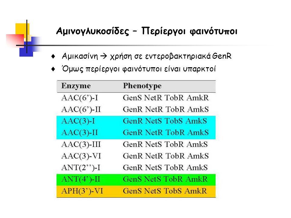 Αμινογλυκοσίδες – Περίεργοι φαινότυποι  Αμικασίνη  χρήση σε εντεροβακτηριακά GenR  Όμως περίεργοι φαινότυποι είναι υπαρκτοί