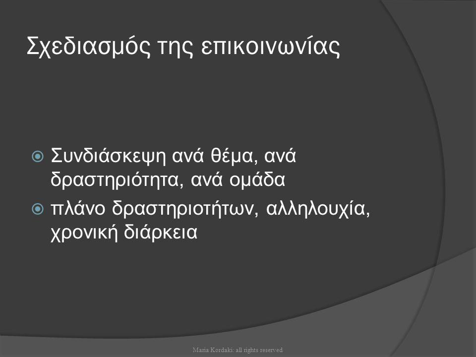 Σχεδιασμός της επικοινωνίας  Συνδιάσκεψη ανά θέμα, ανά δραστηριότητα, ανά ομάδα  πλάνο δραστηριοτήτων, αλληλουχία, χρονική διάρκεια Maria Kordaki: a