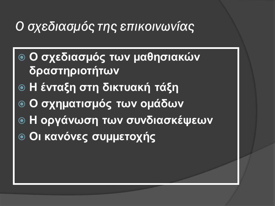Ο σχεδιασμός της επικοινωνίας  Ο σχεδιασμός των μαθησιακών δραστηριοτήτων  H ένταξη στη δικτυακή τάξη  O σχηματισμός των ομάδων  Η οργάνωση των συνδιασκέψεων  Οι κανόνες συμμετοχής