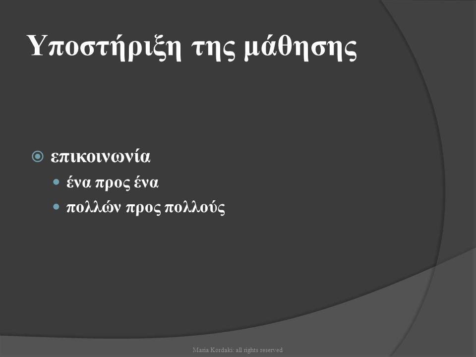 Κατανόηση του Δικτυακού περιβάλλοντος μάθησης  Η διαμόρφωση των δυνατοτήτων των διασκεψεων μέσω υπολογιστή σε περιβάλλοντα εκπαιδευτικής αλληλεπίδρασης απαιτεί πολλή δουλειά από τον καθηγητή προκειμένου να οργανώσει μαθησιακές ευκαιρίες που αφορούν στο αντικείμενο μάθησης Maria Kordaki: all rights reserved